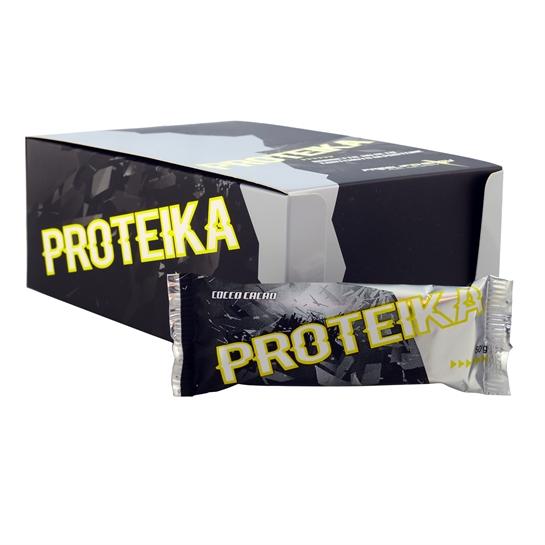 Barretta proteica monodose al gusto cocco e cioccolato fondente in confezione da 25 pezzi.