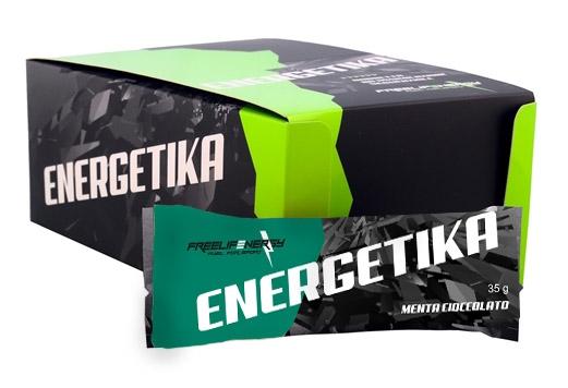 Barretta energetica monodose al gusto menta e cioccolato in confezione da 20 pezzi.