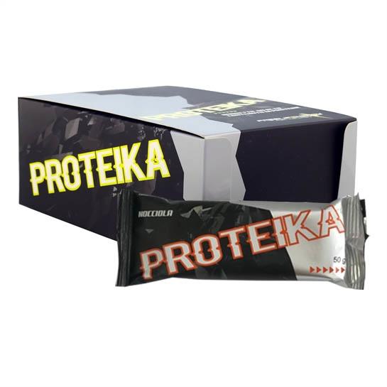Barretta proteika monodose al gusto nocciola in confezione da 25 pezzi.