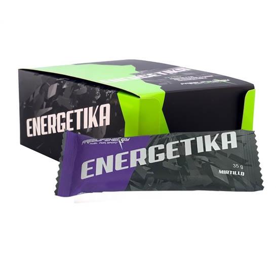 Barretta energetica monodose al gusto mirtillo in confezione da 20 pezzi.